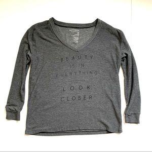 Good hYOUman v-neck gray sweatshirt